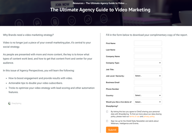 Example of lead magnets landing pages